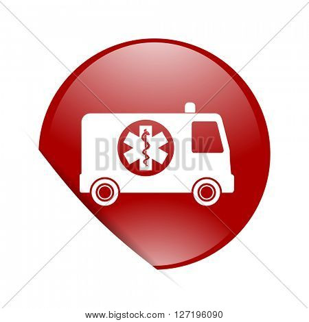 ambulance red circle glossy web icon