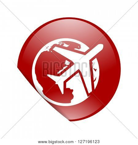 travel red circle glossy web icon