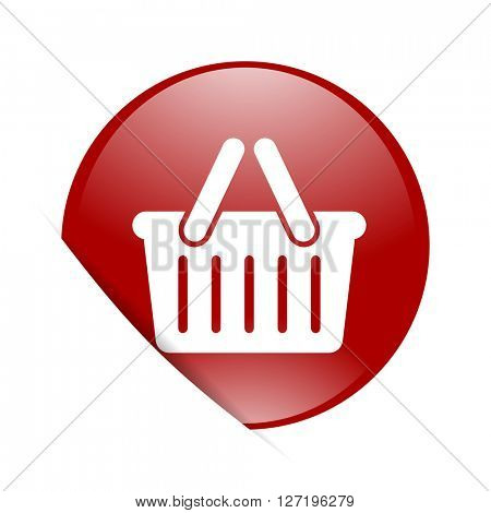 cart red circle glossy web icon