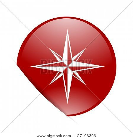 compass red circle glossy web icon