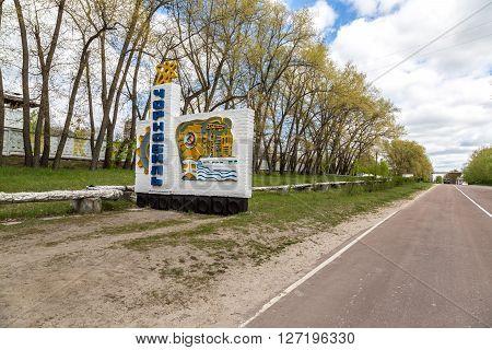 Chernobyl Road Sign, Ukraine