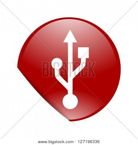 usb red circle glossy web icon