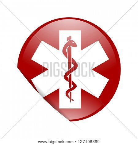 emergency red circle glossy web icon