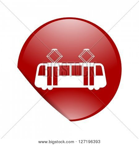 tram red circle glossy web icon
