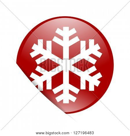 snow red circle glossy web icon