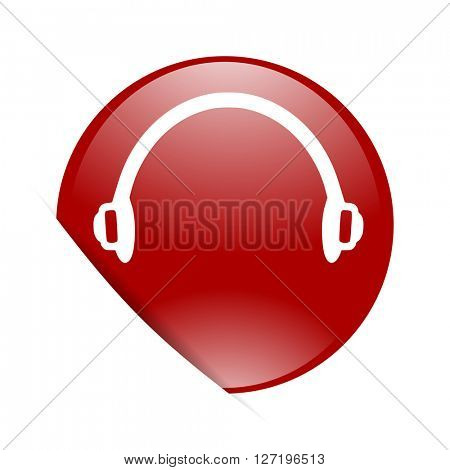 headphones red circle glossy web icon