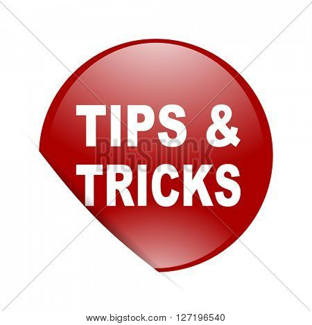 tips tricks red circle glossy web icon
