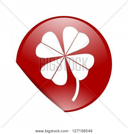 four-leaf clover red circle glossy web icon