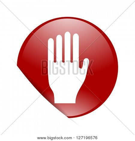 stop red circle glossy web icon