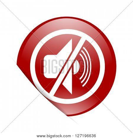 mute red circle glossy web icon