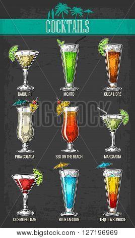 Alcohol cocktail set - margarita, sex on the beach, pina colada, daiquiri, mojito, cuba libre, cosmopolitan, blue lagoon, tequila sunrise. Vintage vector engraving poster, menu for summer beach party.
