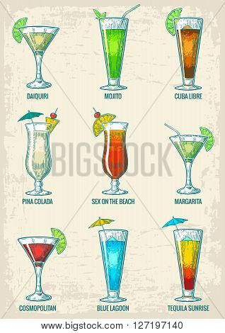 Alcohol cocktail set - margarita, sex on the beach, pina colada, daiquiri, mojito, cuba libre, cosmopolitan, blue lagoon, tequila sunrise. Vintage vector engraving poster, menu for summer beach party
