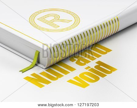 Law concept: closed book with Gold Registered icon and text Null And Void on floor, white background, 3D rendering