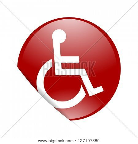 wheelchair red circle glossy web icon