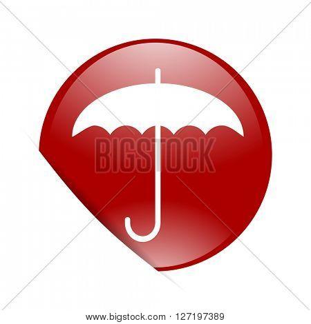 umbrella red circle glossy web icon