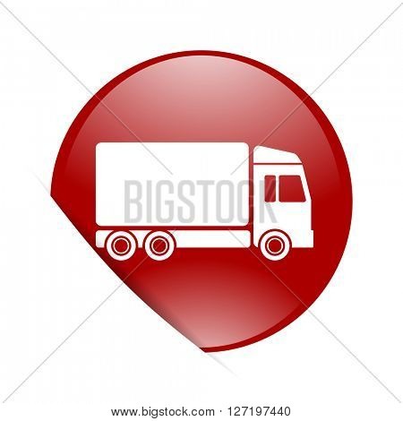delivery red circle glossy web icon