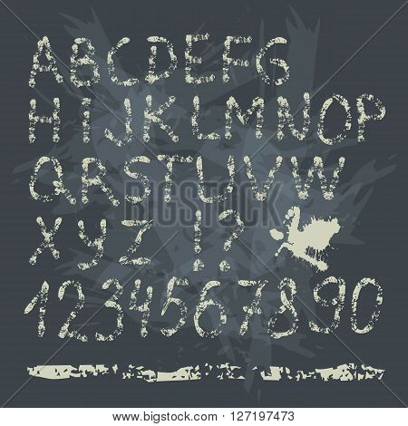 Grunge vintage hand drawing Font on blackboard