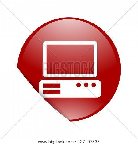 computer red circle glossy web icon