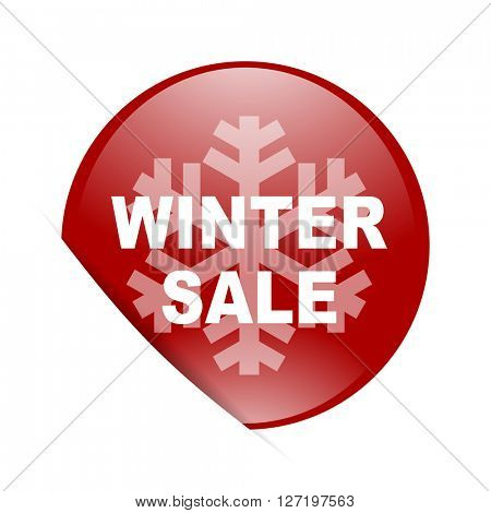 winter sale red circle glossy web icon