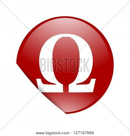 omega red circle glossy web icon