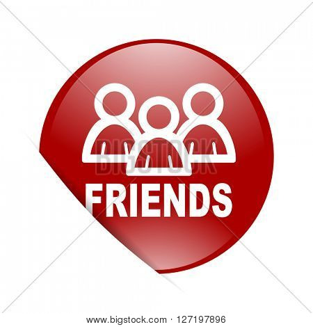friends red circle glossy web icon