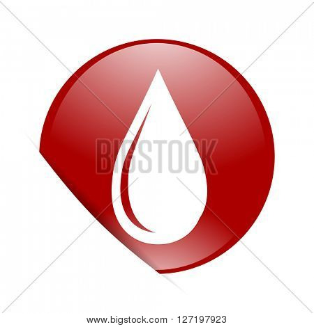 water drop red circle glossy web icon
