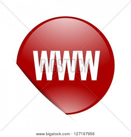 www red circle glossy web icon