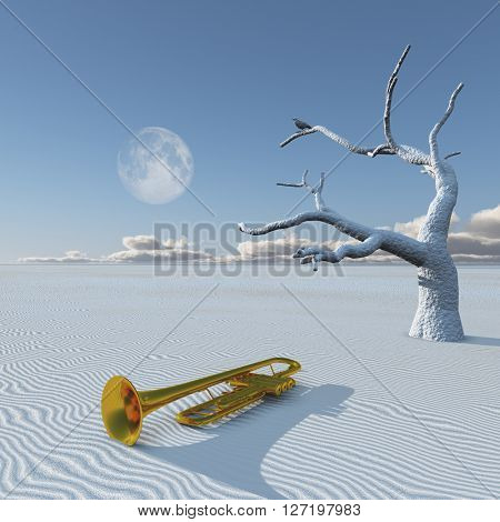Horn and dead tree in desert 3D Render