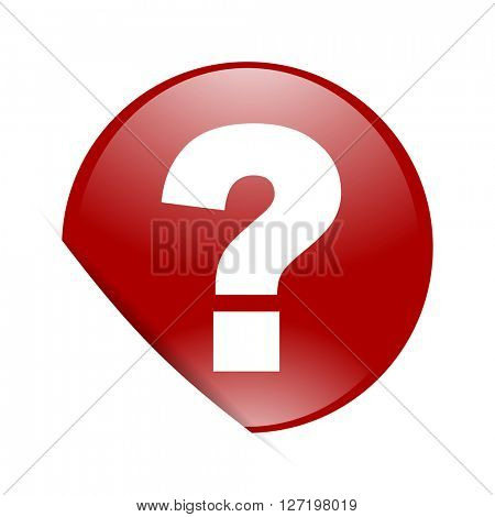 question mark red circle glossy web icon