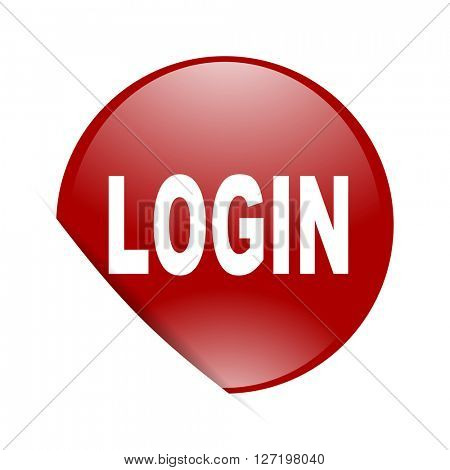 login red circle glossy web icon