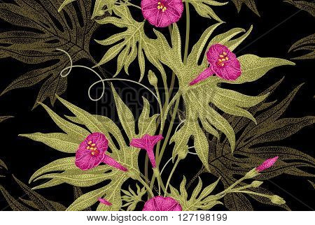 Exotic climbing plant ivy. Vector seamless floral pattern. Branch, leaves, flowers on black background. Illustration in vintage style - template design luxury packaging, textile, paper.
