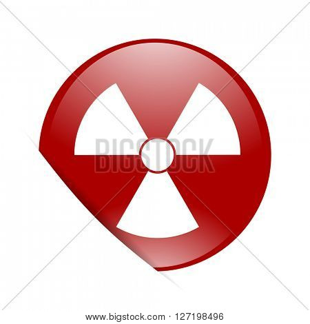radiation red circle glossy web icon