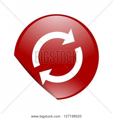reload red circle glossy web icon