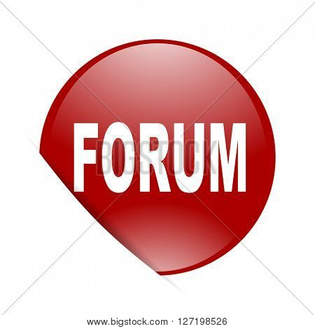 forum red circle glossy web icon