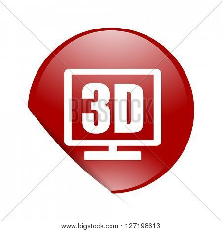 3d display red circle glossy web icon