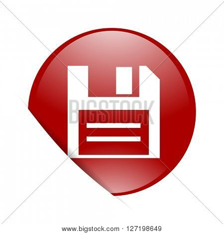 disk red circle glossy web icon