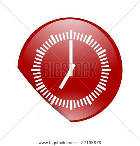 time red circle glossy web icon