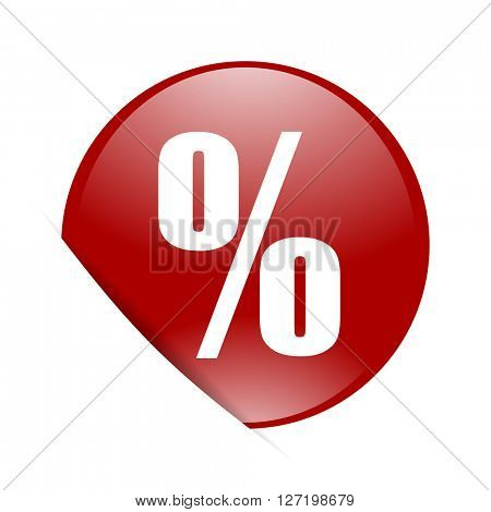 percent red circle glossy web icon