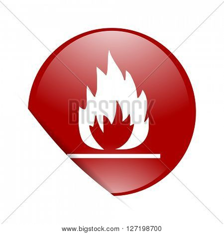 flame red circle glossy web icon