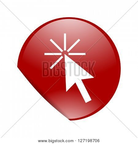 click here red circle glossy web icon