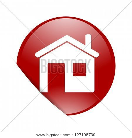 house red circle glossy web icon