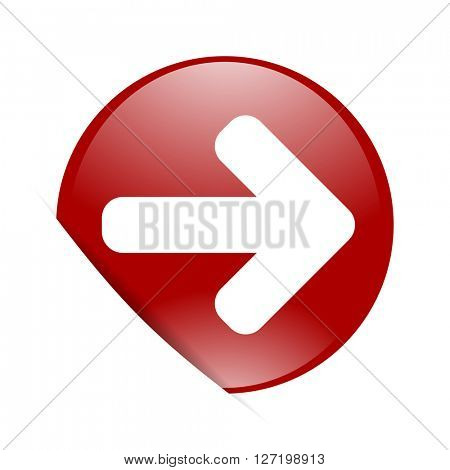 right arrow red circle glossy web icon