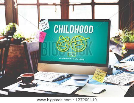 Children Childhood Kids Computer Website Concept