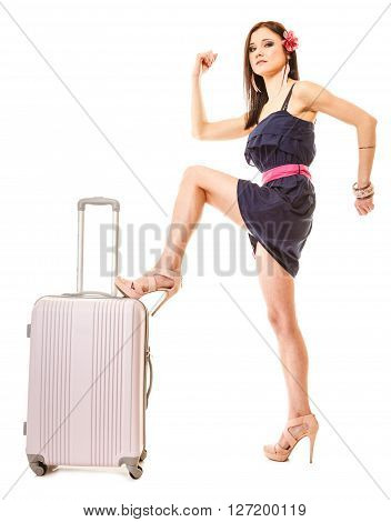 Travel vacation concept. Young summer fashion woman in voyage girl in full length with pink suitcase luggage bag.