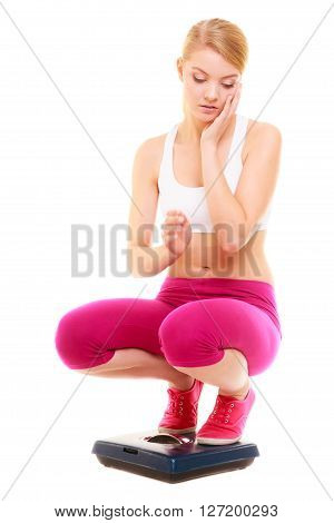 Upset Woman Weighing Scale. Slimming Weight Loss.