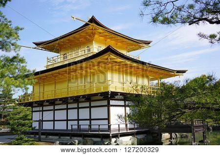 KYOTO, JAPAN - 16 APRIL 2015: View of Kinkakuji on October 31, 2015 in Kyoto, Japan. Kinkakuji (golden pavilion temple) is the most well-known Zen Buddhist temple in Kyoto