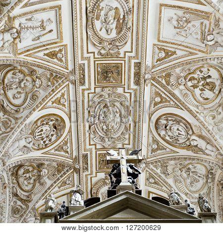 CORDOBA, SPAIN - September 10, 2015: Detail of the transept ceiling of the Cathedral of Cordoba on September 10, 2015 in Cordoba, Spain