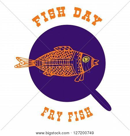 The fish in the pan. Vector illustration of a fish theme