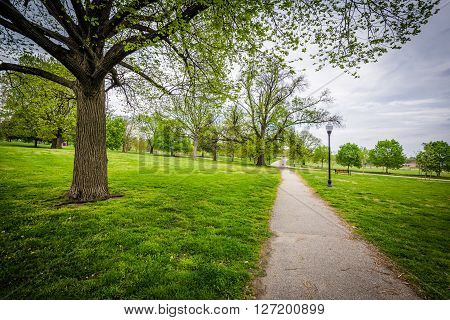 Trees And Walking Path At Patterson Park, Baltimore, Maryland.