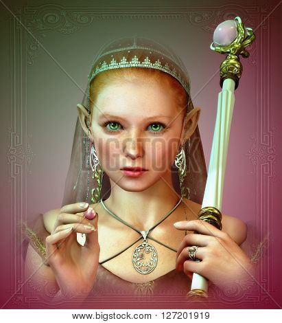 3d computer graphics of a cute fairy princess with a pink pearl in her hand